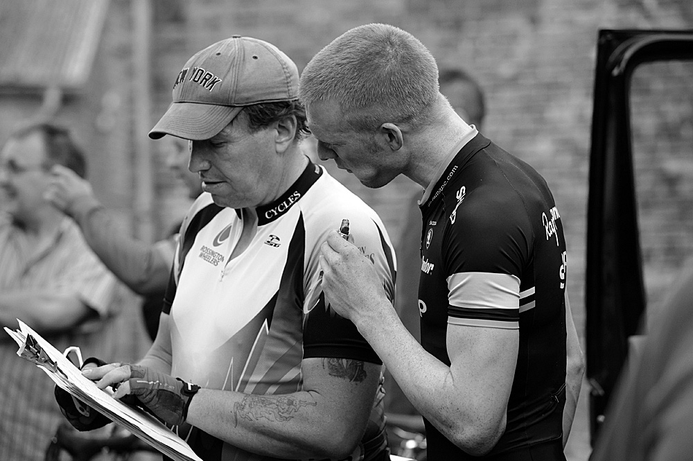Ed Clancy checks results sheet, Rossington Evening 10-mile time trial, August 2011