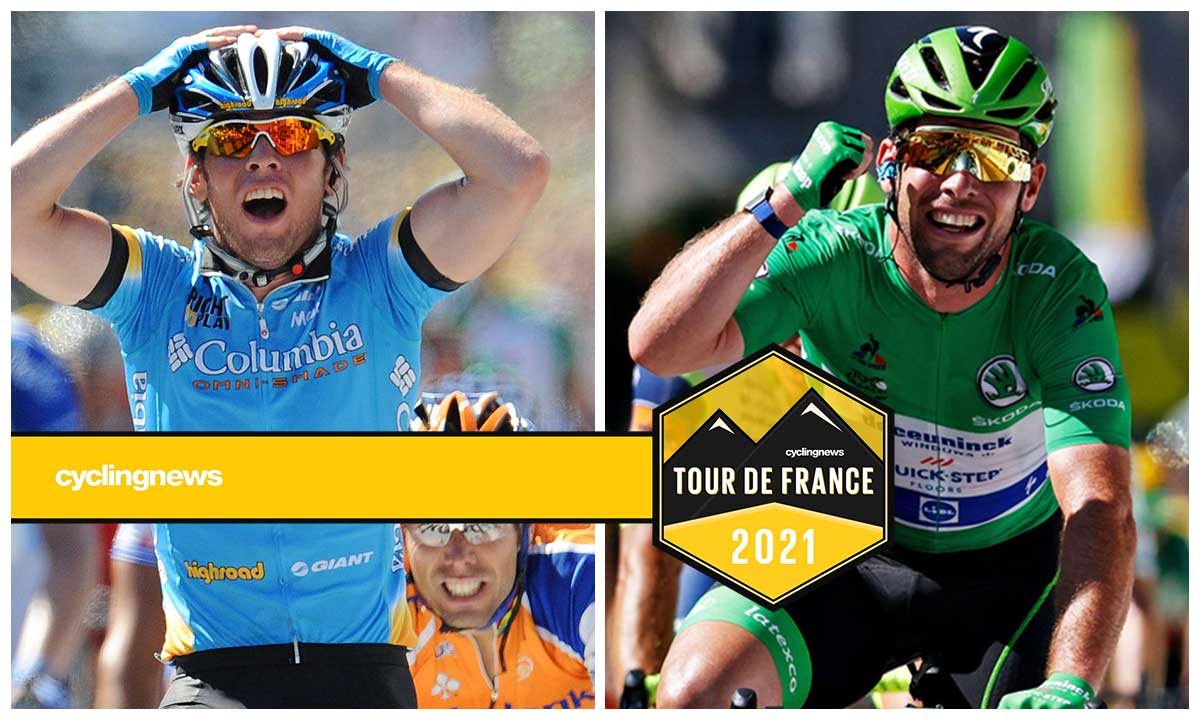 Mark Cavendish in his first and 34th Tour de France stage wins 13 years apart