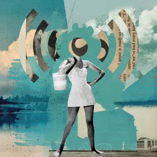 Collage art of a woman in a dress with a wi-fi symbol instead of her head