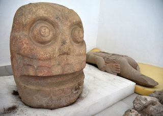 At the temple site, researchers discovered stone sculptures representing skinned skulls, as well as a stone torso.