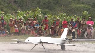 A drone takes off from a remote village in Madagascar.