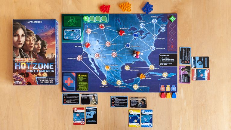 Pandemic Hot Zone North America review, game laid out with box nearby