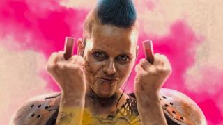 A woman from the Rage 2 trailer makes an obscene gesture with shotgun shells.