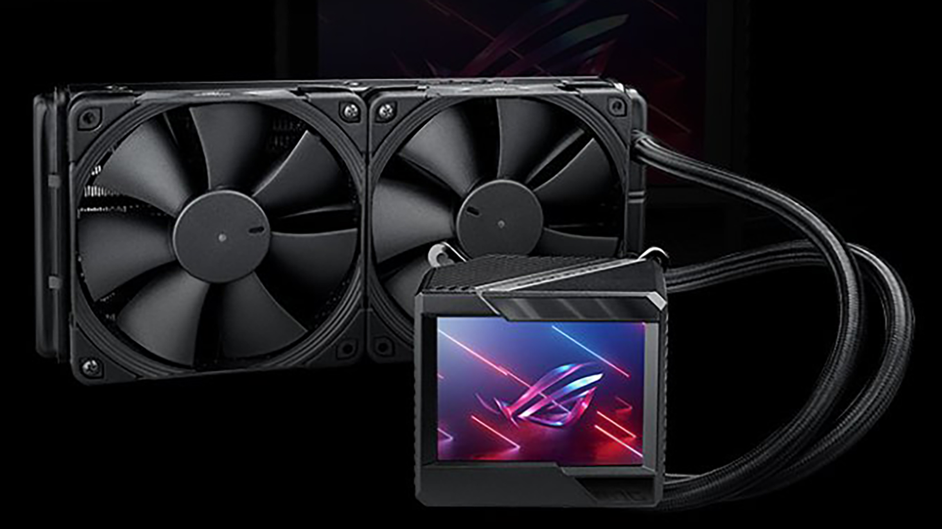 Asus appears to have strapped a tiny TV to an ROG liquid cooler