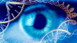illustration of eye with DNA swirling around the image