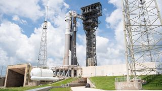A United Launch Alliance Atlas V rocket with Boeing's CST-100 Starliner spacecraft onboard is seen on the launch pad at Space Launch Complex 41 ahead of the Orbital Flight Test-2 (OFT-2) mission, on July 29, 2021 at Cape Canaveral Space Force Station in Florida.