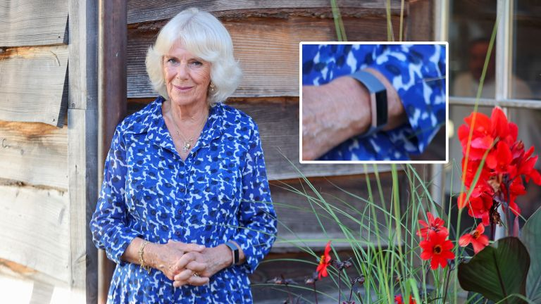 Camilla, Duchess of Cornwall pictured wearing a Fitbit