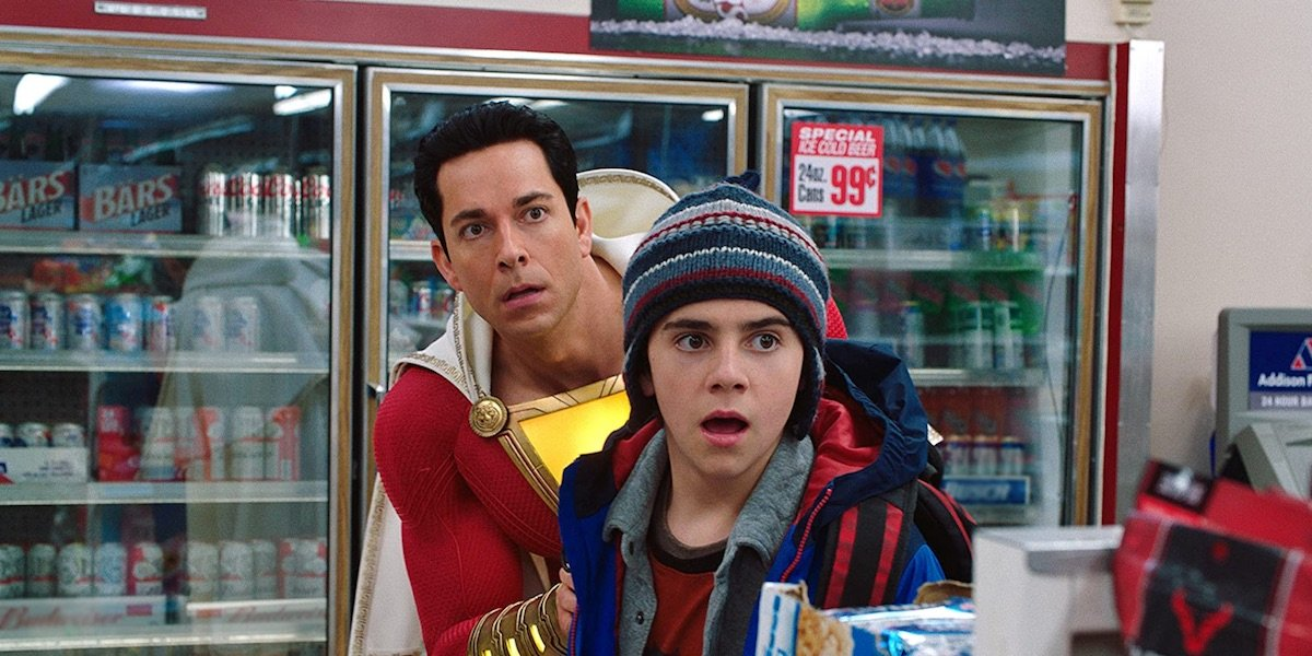 Shazam and Freddy in the convenience store