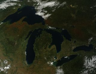 Fall colors over Great Lakes