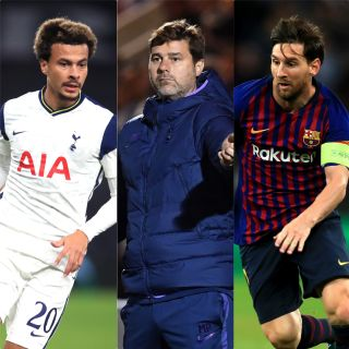 Could Mauricio Pochettino (centre) be targeting Dele Alli (left) or Lionel Messi (right)? (PA)