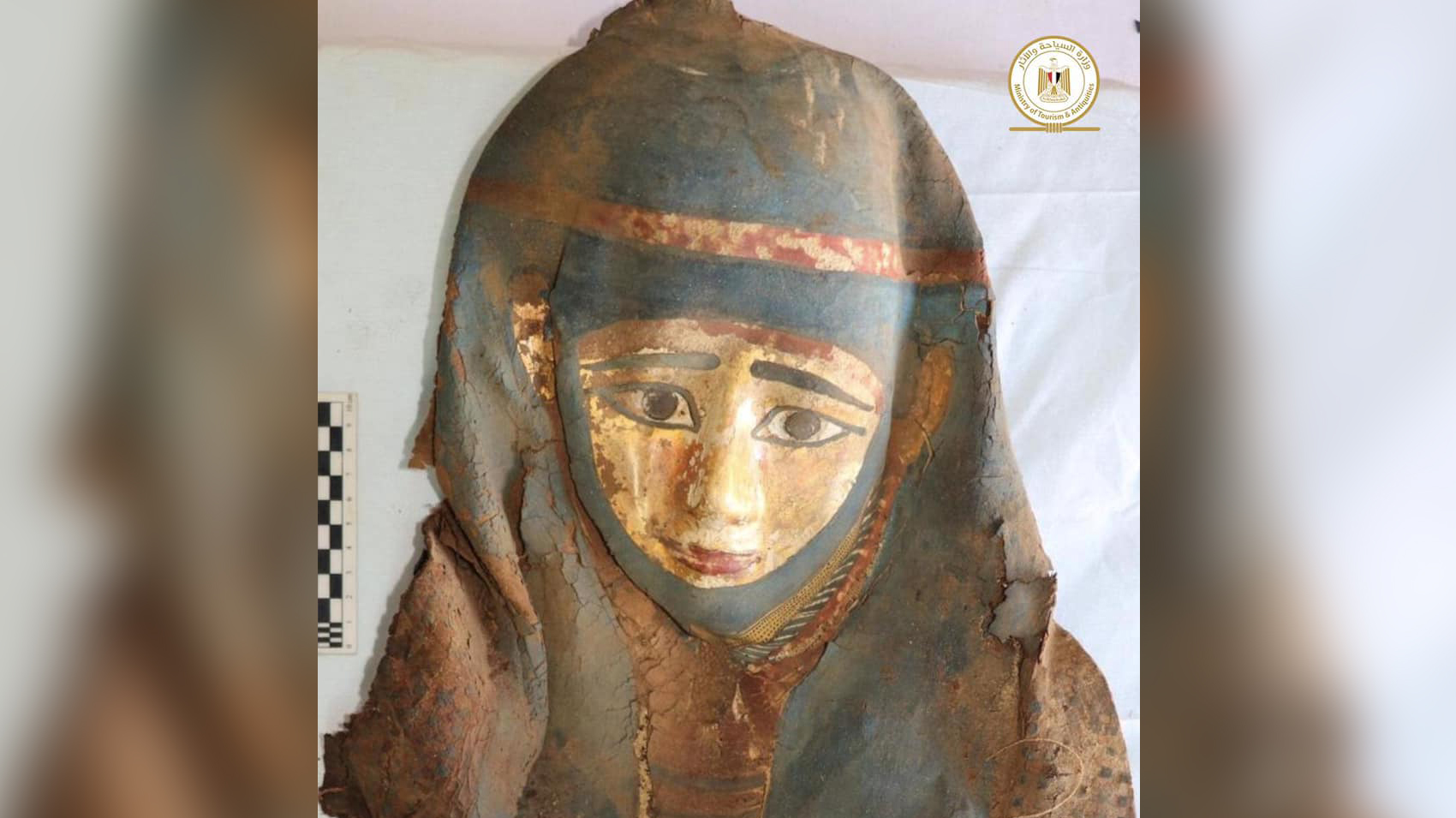 A mummy mask worn by the deceased is seen here.