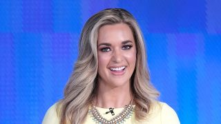 "Fox cohost of ""The Five"" Katie Pavlich welcomes Columbus Zoo for Animals Are Great Segment at Fox News Channel Studios on Sept. 12, 2019 in New York City."