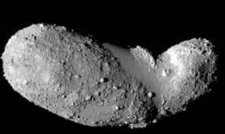 Image of Itokawa asteroid visited by Japan's Hayabusa spacecraft to collect samples from the asteroid.