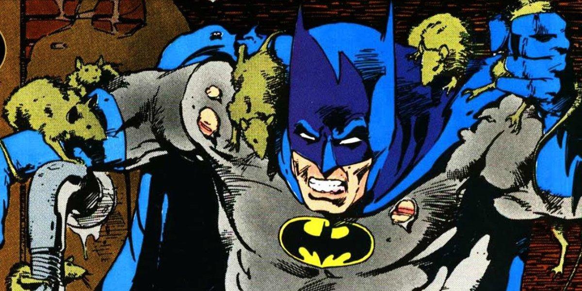 Batman covered in Ratcatcher's rats