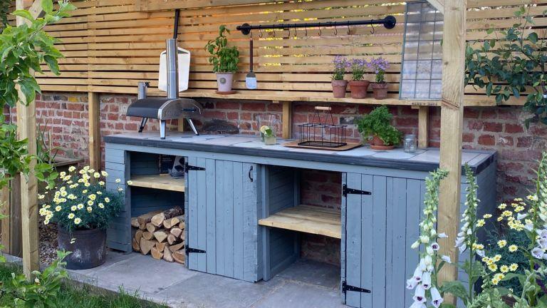 Blue outdoor wooden kitchen