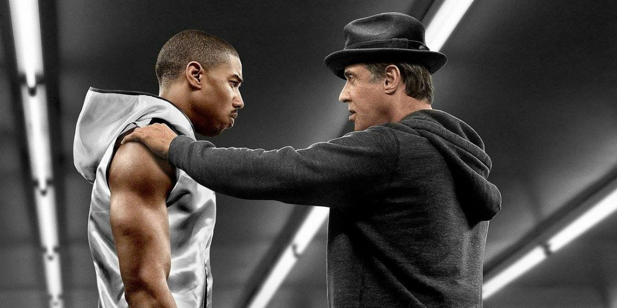 Michael B Jordan and Sylvester Stallone in the box ing ring in Creed