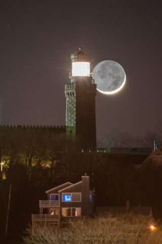 Moon Setting at Navesink Highlands, New Jersey
