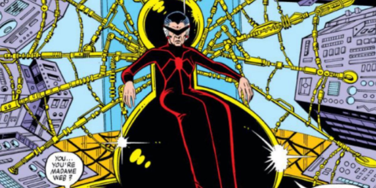 Spider-Man Madame Web sitting in her life support device