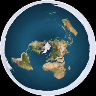 In this depiction of what a flat Earth would look like, Antarctica is represented as a layer of ice surrounding a disc-shaped Earth.