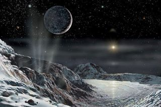 Artist David A. Hardy's view of Pluto and Charon