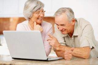 older couple, computer, online, man, woman