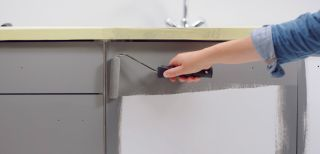 Painting Kitchen Cabinets with grey paint