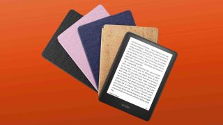 A fan of Amazon Kindle Paperwhite (2021) models, three in cases, one with display visible