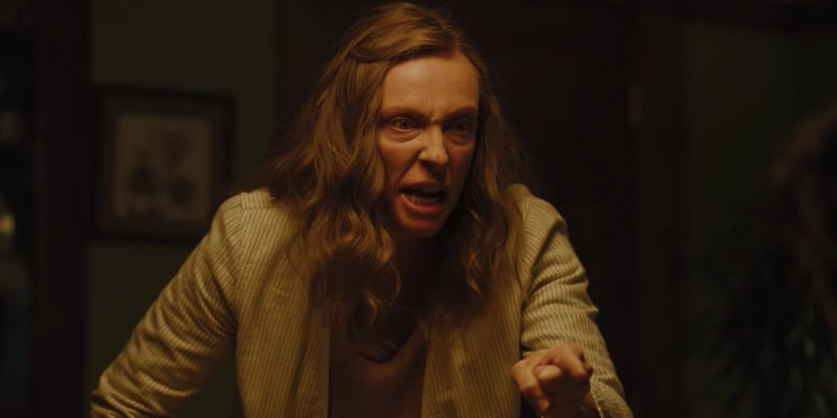Hereditary Toni Collette points during her dinner table freak out