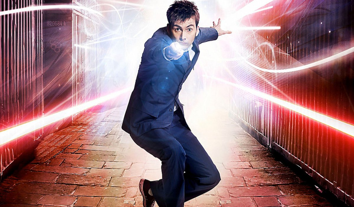 Doctor Who The Tenth Doctor aims his Sonic Screwdriver at the camera