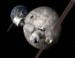 Boeing's design for a Deep Space Gateway, an astronaut outpost near the moon. NASA is developing plans for a new Lunar Orbital Platform Gateway in orbit near the moon for future astronaut missions.