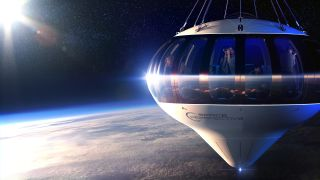 Artist's illustration of Space Perspective's balloon-borne Spaceship Neptune high above Earth.