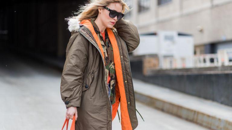 best parkas for women: woman wearing parka street style
