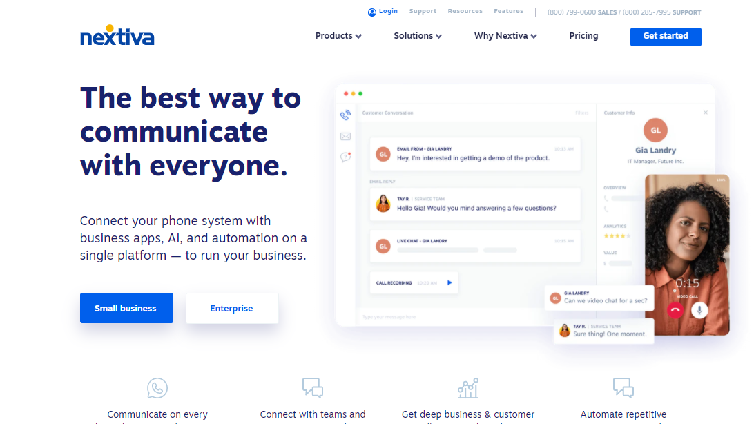 Nextiva website homepage with text which reads: The best way to communicate with everyone