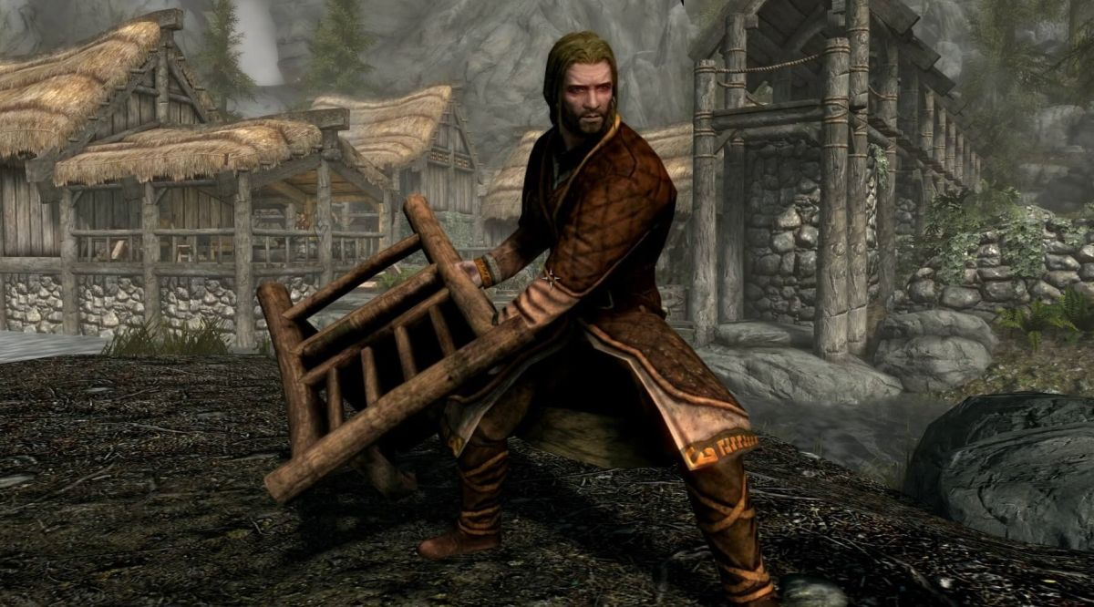 This Skyrim mod adds a two-handed weapon that's just a chair