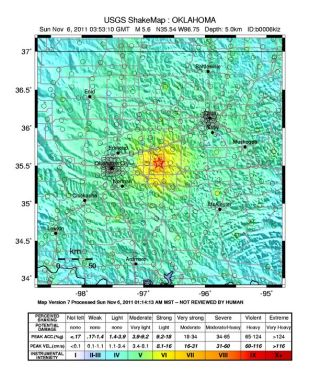 Map of shaking intensity from the magnitude 5.6 earthquake that hit Oklahoma on Nov. 5, 2011.