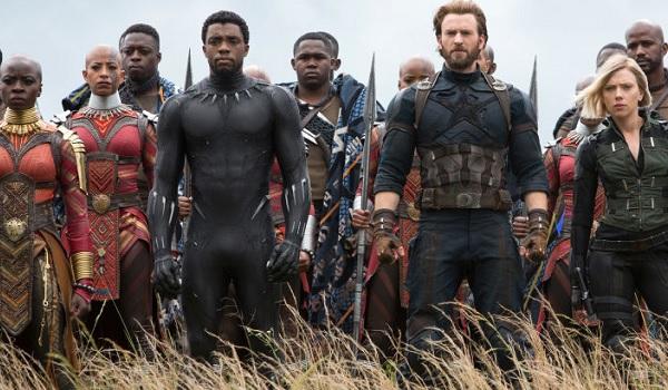Avengers: Infinity War Danai Gurira Chadwick Boseman Chris Evans Scarlet Johansson looking out on th