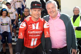 Sunweb's Nicolas Roche and his father – and 1987 Tour de France winner – Stephen Roche at the 2020 Tour des Alpes Maritimes et du Var