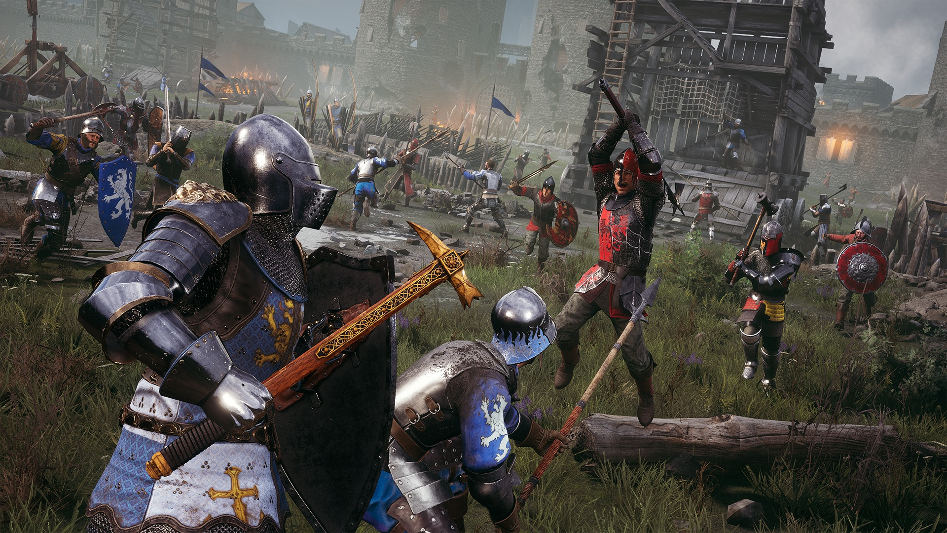 Two knights dressed in blue prepare to challenge a knight in red while other red teammates approach behind them. A siege tower stands in the background outside stone city walls.