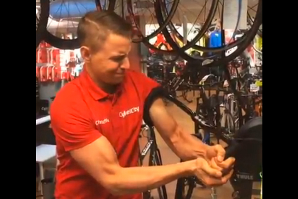 mechanic snaps fake handlebars