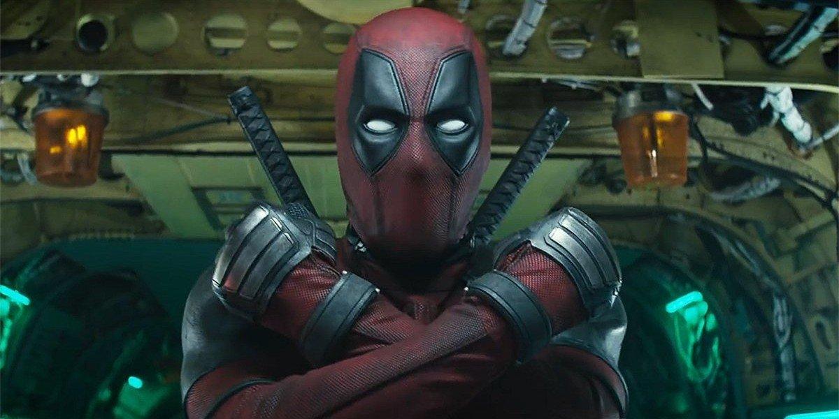 Deadpool makes an X symbol in Deadpool 2 (2018)