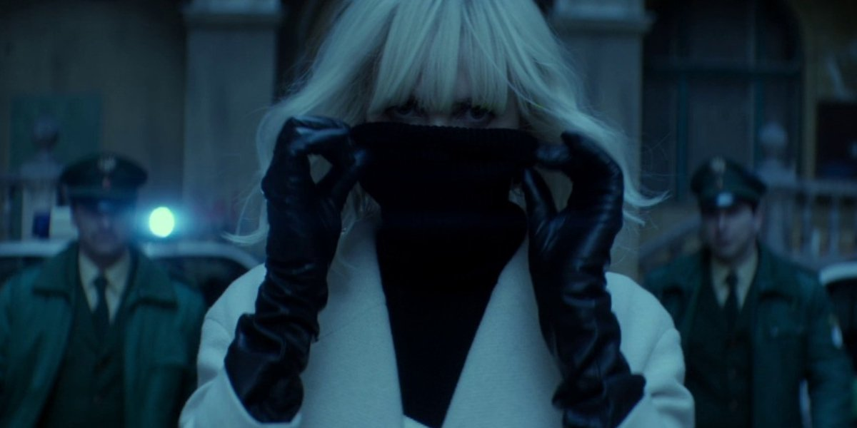 Charlize Theron wears a mask in Atomic Blonde