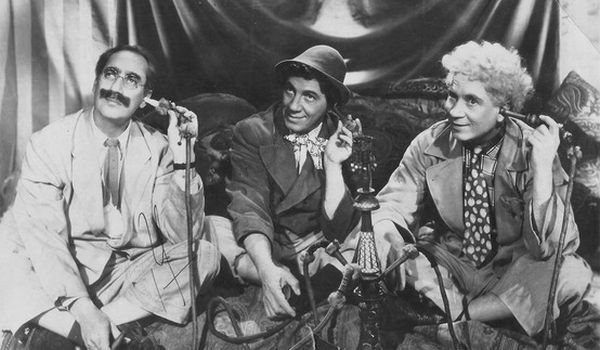 Groucho Harpo and Chico on the phone in A Night in Casablanca