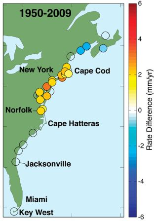 Increasingly red circles indicated locations where increases in sea level have been largest from 1950 to 2009. Researchers found a 'hotspot' of increased rates of sea-level rise from north of Boston, Mass., south to Cape Hatteras, N.C.