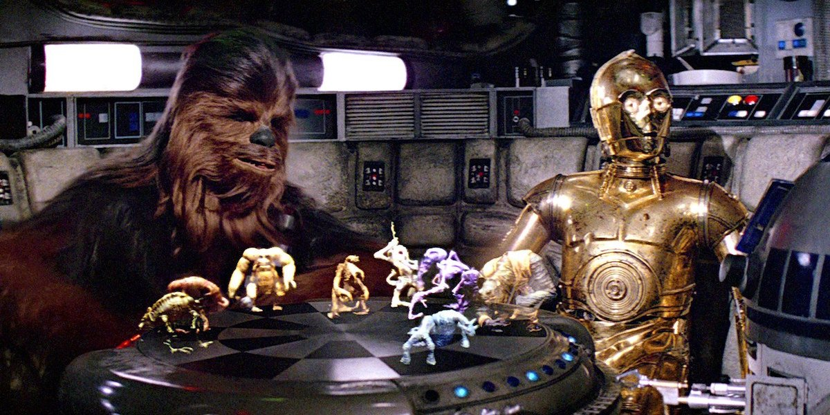 Chewbacca and C-3PO playing Holochess aboard the Millennium Falcon