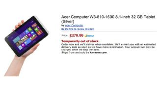 Acer Iconia W3 Amazon leak