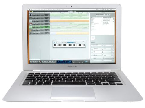 The MacBook Air features a widescreen LCD display
