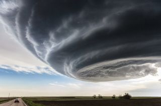This supercell brewed over Julesberg, Colorado. The storm produced hail and rain, but never developed into a full tornado.