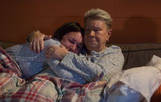 A grieving Stacey Fowler is comforted by Mo after hearing about Kat's death
