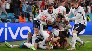 England celebrate a goal