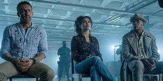 Ryan Reynolds, Salma Hayek and Samuel L. Jackson in The Hitman's Bodyguard's Wife